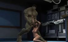 3D brunette babe sucking on The Hulk's hard cock