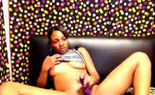 Horny Ebony Slut And Her Vibrator