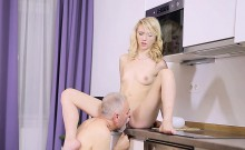 Youthful babe pleases old wicked guy fucking him hard