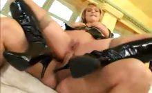 Sexy blonde fucks a hard cock with her tits and in her ass!