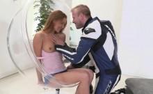 Stunning biker's girlfriend Alexis Crystal enjoys a fat