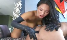 Beautiful asian chick gets her hot strap-on dick in an ass !