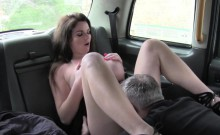 Pretty busty slut sucks cock in the car