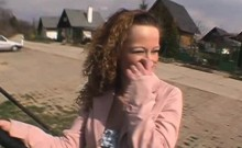 Frizzy Haired Brunette Amateur Fingering Herself In Public