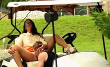 Slut pissed on outdoors