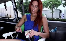 Hot ass redhead fucks for cash in the sex bus