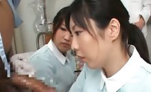 Asian nurse giving handjob slurps jizz out of cock