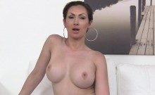 Busty babe suprised with big cock in casting