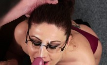 Wicked peach gets cumshot on her face swallowing all the cha