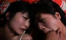 Two lovely Japanese babes getting fucked deep and hard by a