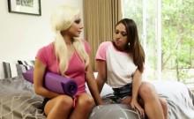 Barbie Doll looking lesbian girlfriends eating raw pussy
