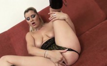 Slutty Britney gives a sizzling masturbation show to two