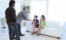 Horny dads fucks the gals pussies doggystyle