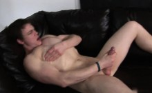 Hot Stud Masturbates On Camera On A Leather Couch