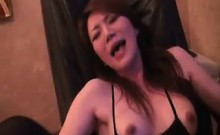 Hottie Sits In A Chair While He Grabs Her Tits And Vibrates