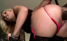 Cherie in stockings gets her asshole drilled