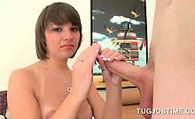 Teen sweetie in small boobs tugging jizz loaded cock