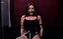 Sexy bondage scenery with bitch getting strapped and teased