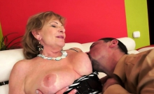 Busty Euro Granny In Stockings Gets Banged