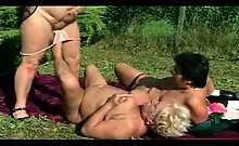 Lesbian granny fatties outdoor orgy