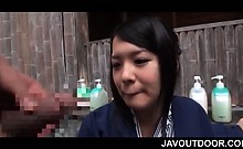 Gorgeous jap geisha having a taste of huge dick in public