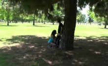 Amateur caught giving head outdoors
