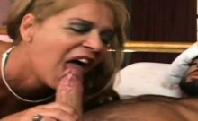 blonde granny sucking thick young cock