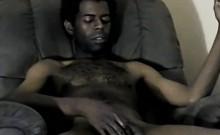 Amateur ebony hunk tugging on his rock hard cock