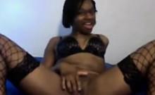 Ebony Nerd Teasing Her Body