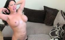 Huge tits brunette in stockings fucking on casting