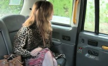 Brown haired amateur in stockings bangs in fake taxi