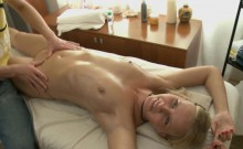Massaging awesome cutie makes her sexually excited