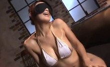 Busty Oiled Up Japanese Babe In A Threesome