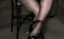 Sexy Legs In Shiny Nylons And High Heels