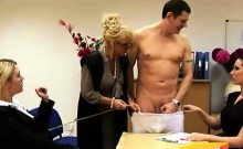Brit girls and mif strip CFNM guy in office