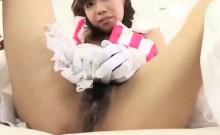 Sweet Japanese girl Mai Inoue has a hairy peach longing for pleasure