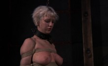 Beautiful babe's sweet nipples receives painful torturing