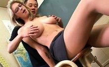 Kinky blonde teacher with big hooters is on the prowl for sex action