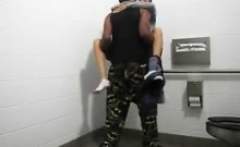 Couple fuck in disability toilet