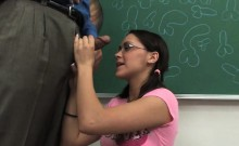 Cute Nerdy Student Is Given Some Sex Ed On The Teachers Desk
