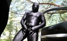 Patting my cocksheath in a beach surrounded in zentai