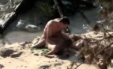 Girl getting it within the butt in the seaside