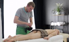 Olivia is in for her first oil massage experience and Ed's