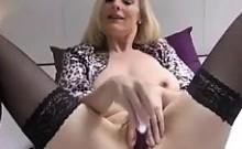Spectacular adult in pumps and tights masturbates