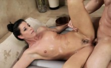 Sexy masseuse gets pounded by her client after massage