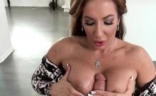 Huge Rack Brunette MILF on Her knees