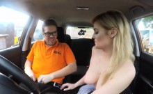 Huge boobs examiner Katy Jayne gets pussy ripped in the car