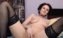 Hot babe in stockings loves online dildo masturbation