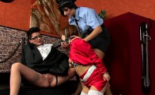 Naughty mistres dominates male serf in hardcore bdsm action