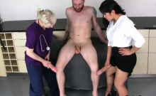 Teenies bang guys anal hole with big belt dicks and squirt j